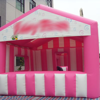 Pink and white inflatable tentGN089