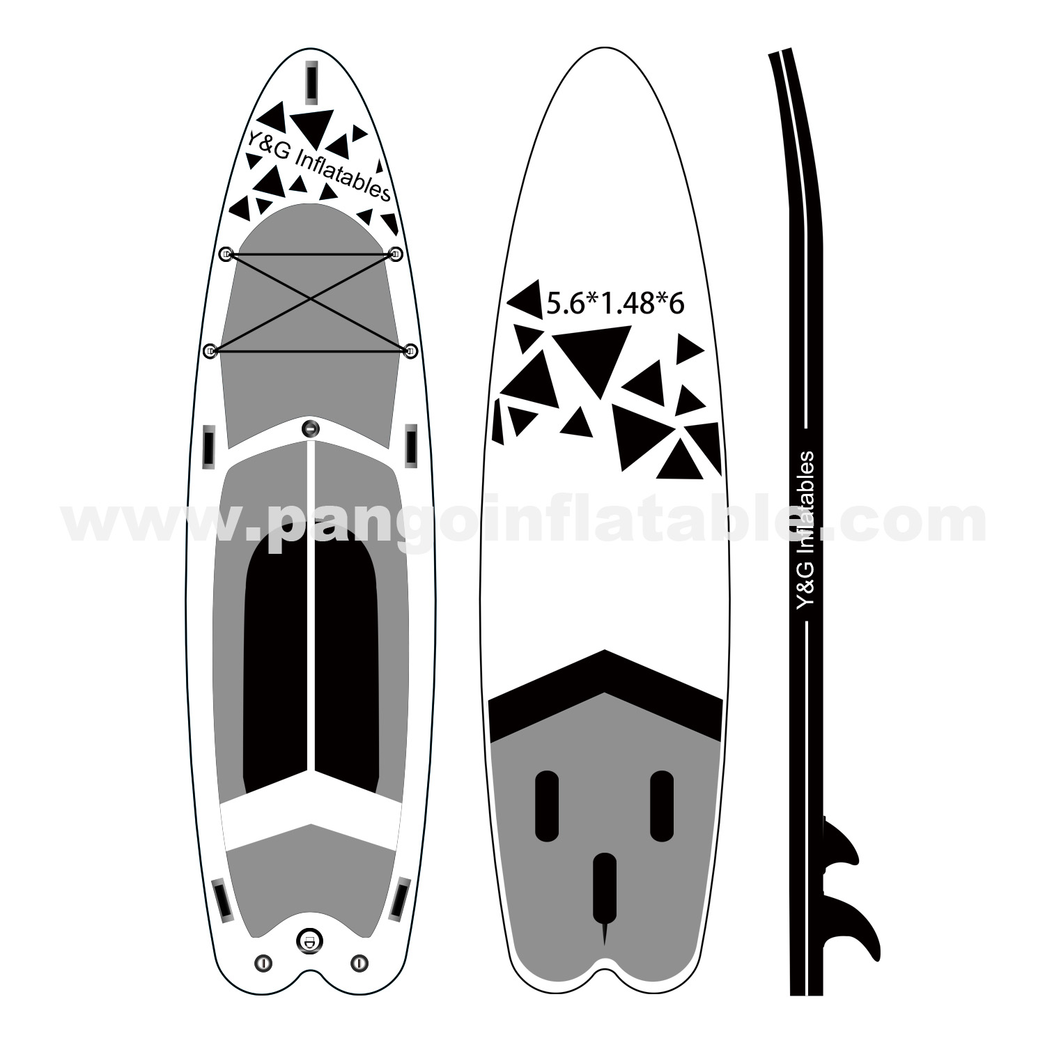 Black Graphics Inflatable Paddle BoardYG-001