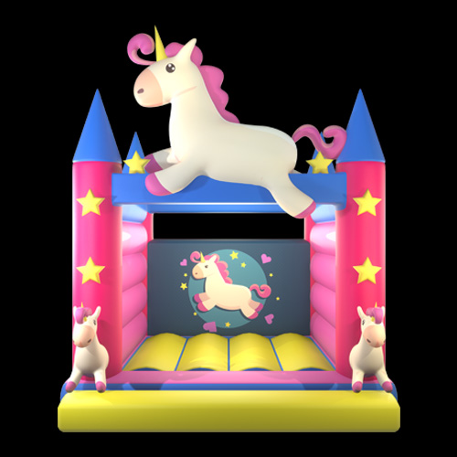 Pink unicorn bounce house 01