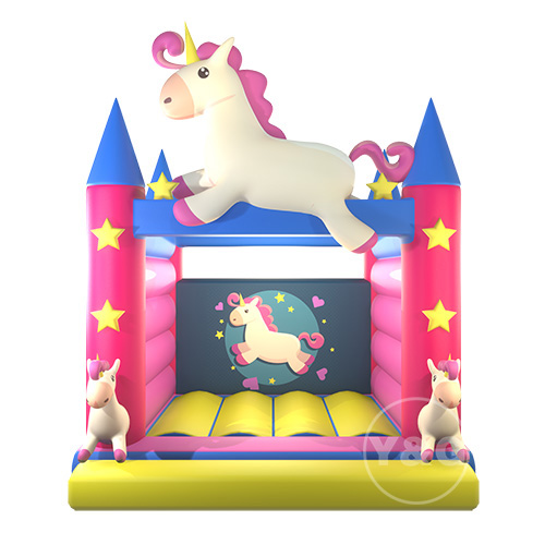 Pink unicorn bounce house01