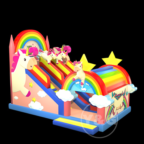 Pink unicorn inflatable slide 02